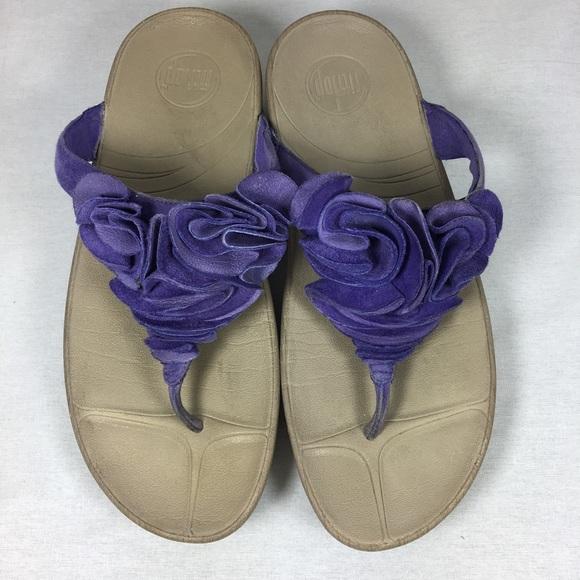 b7b29ffbf7e11 fitflop Shoes - FitFlop Purple Ruffled Sandals Size 8